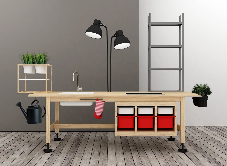 IKEA hack  Kitchen counter table A norden tavolo cooktop B tydlig piano cottura kitchen faucet C     -> Ikea Ps Lampada