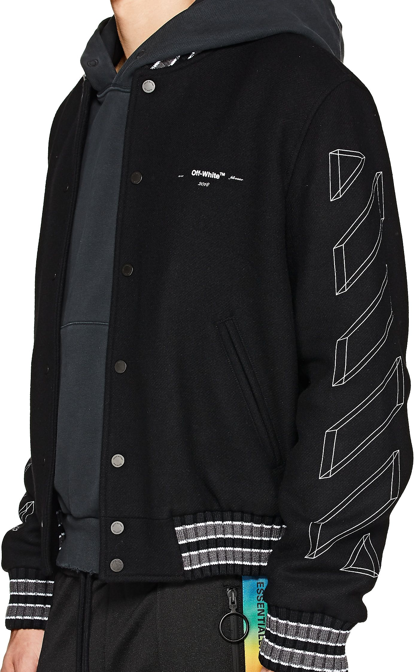 Off White C O Virgil Abloh 3d Striped Wool Blend Varsity Jacket Barneys New York Mens Outdoor Jackets Hoodie Outfit Men Off White Jacket [ 2243 x 1400 Pixel ]