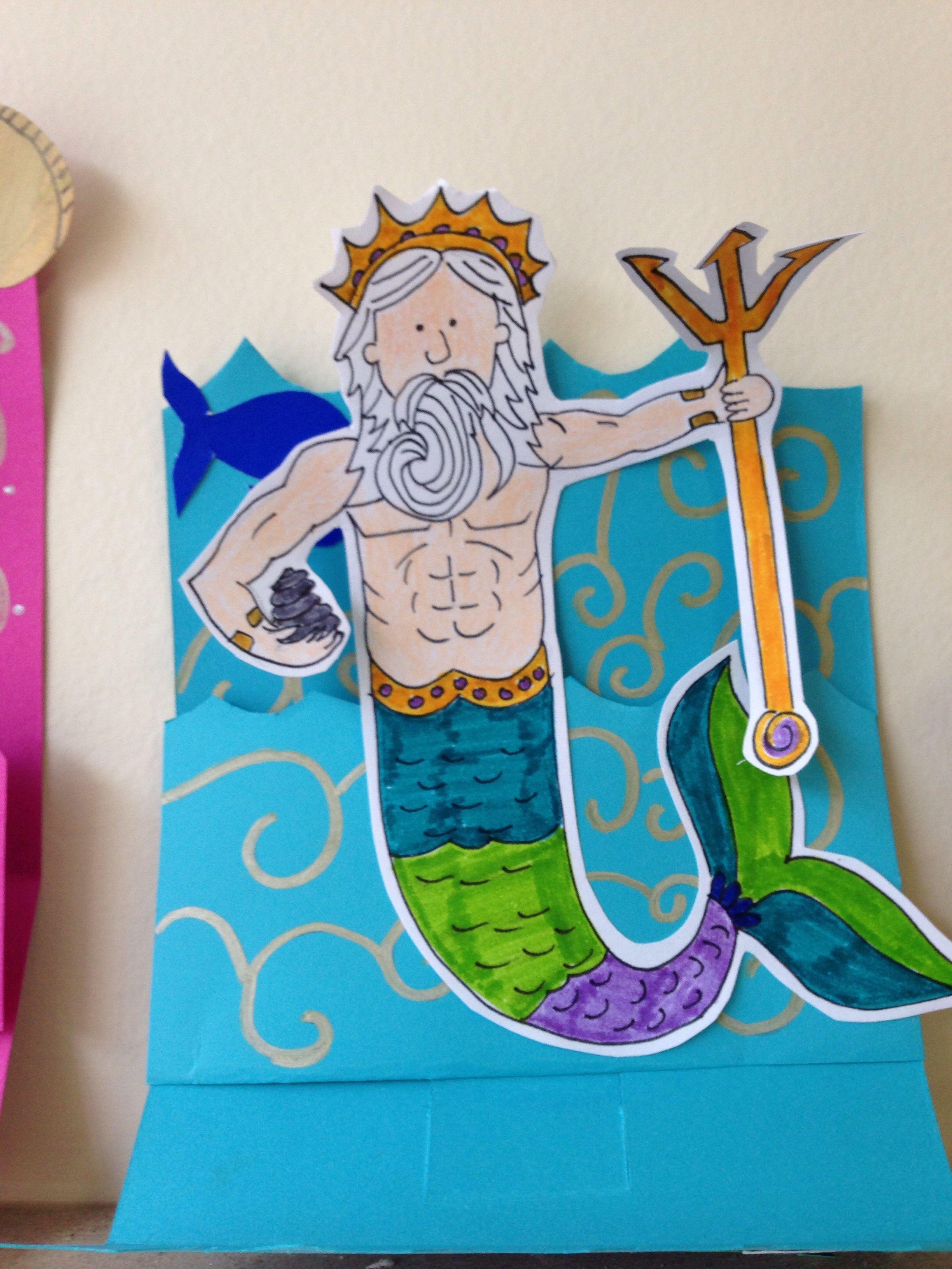 Roman God Neptune Pop Up Card