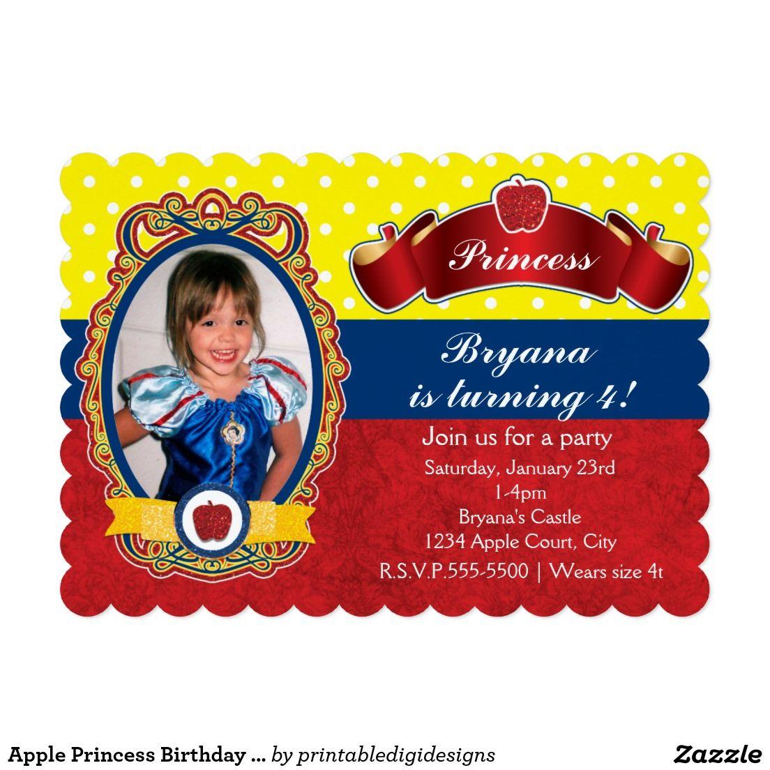 Apple Princess Birthday Party Photo Invitations | Girls Birthday ...