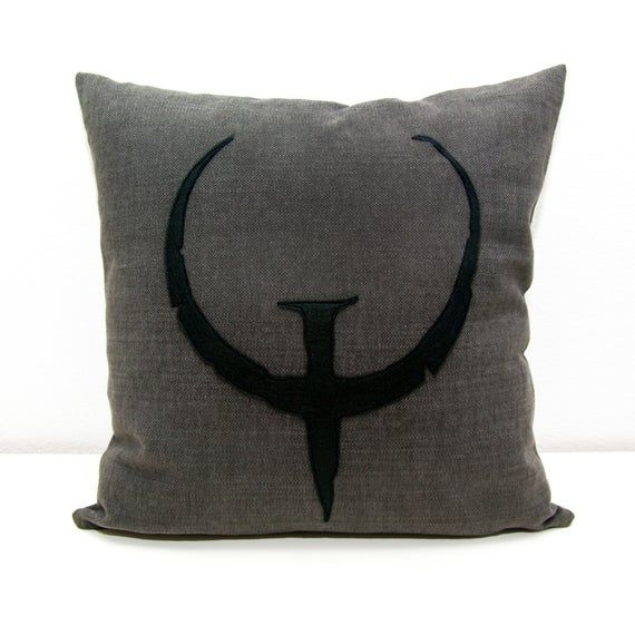 Quake cushion cover, grey and black, decorative pillow, nerd pillow, geek pillow, valentine's day, dorm pillow