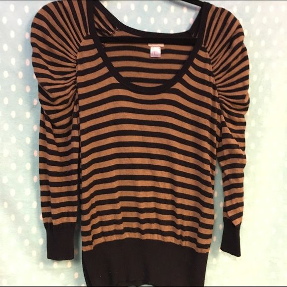 Striped sweater with puff sleeve by H&M size M Cute brown and ...