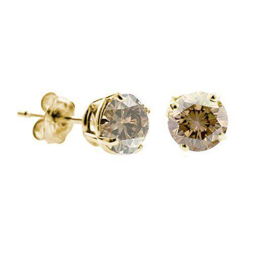 1 4 Ct Champagne Diamond Stud Earrings 14k Yellow Gold I1 I2 Clarity Finediamonds9 89 99 High End Earring Gift Box Include Champagne Diamond Studs