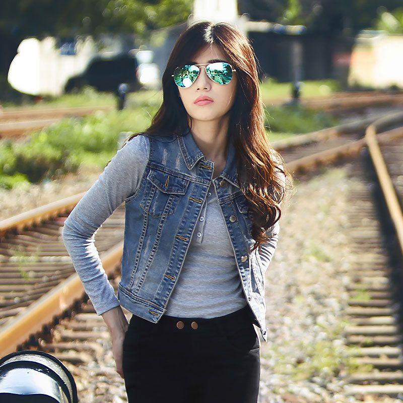 Moda Mujer | Camisas de mezclilla sin mangas, Moda para