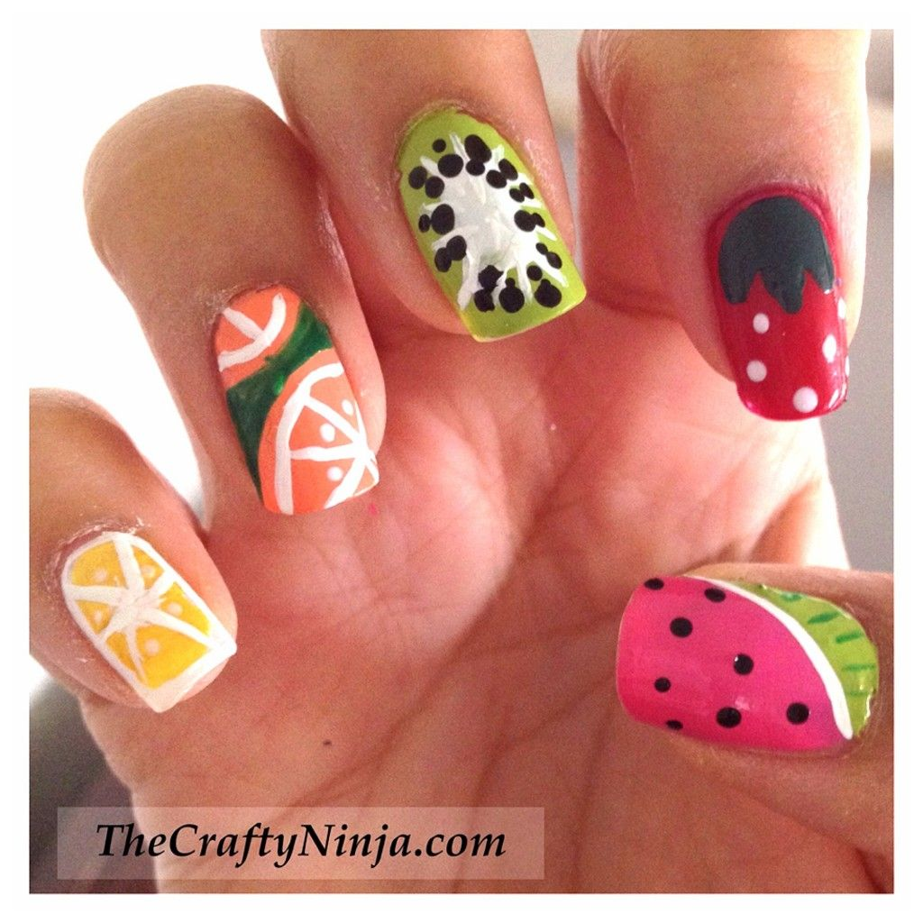 The Sparkle Queen: Top 50 Summer Nail Art Ideas! craftyninja's fruit nail  tutorials for summer.this is what i want - Nails - Google Search Nail Designs Pinterest Summer Nail Art