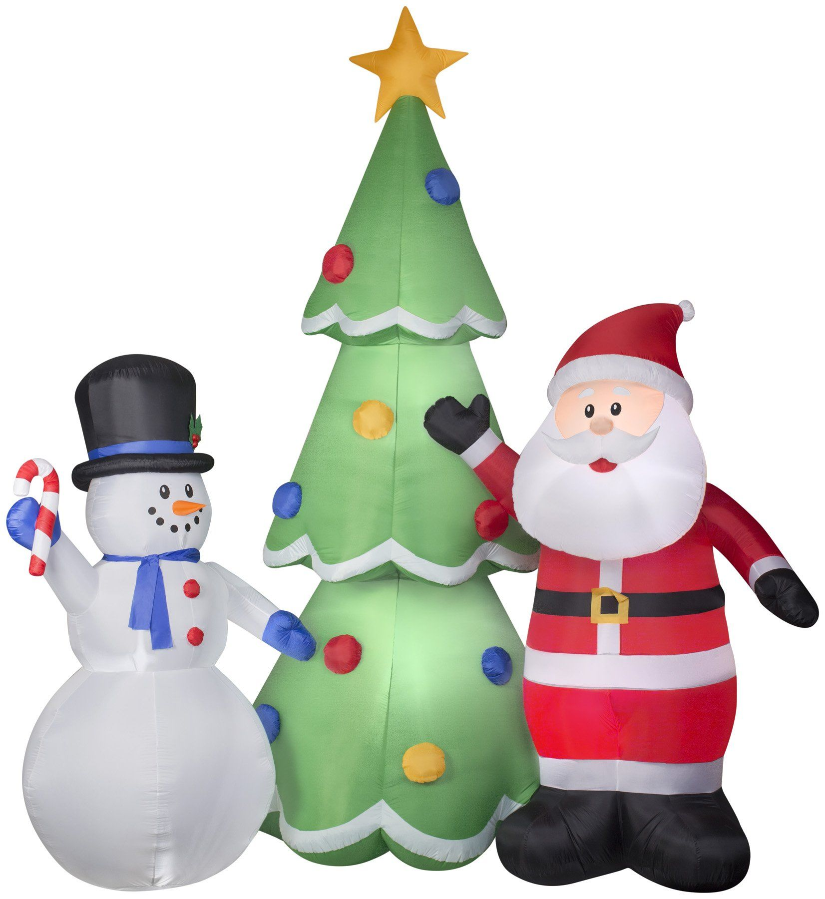 13 Airblown Santa And Snowman W Tree Christmas Inflatable Christmas Inflatables Snowman Christmas Tree Inflatable Decorations