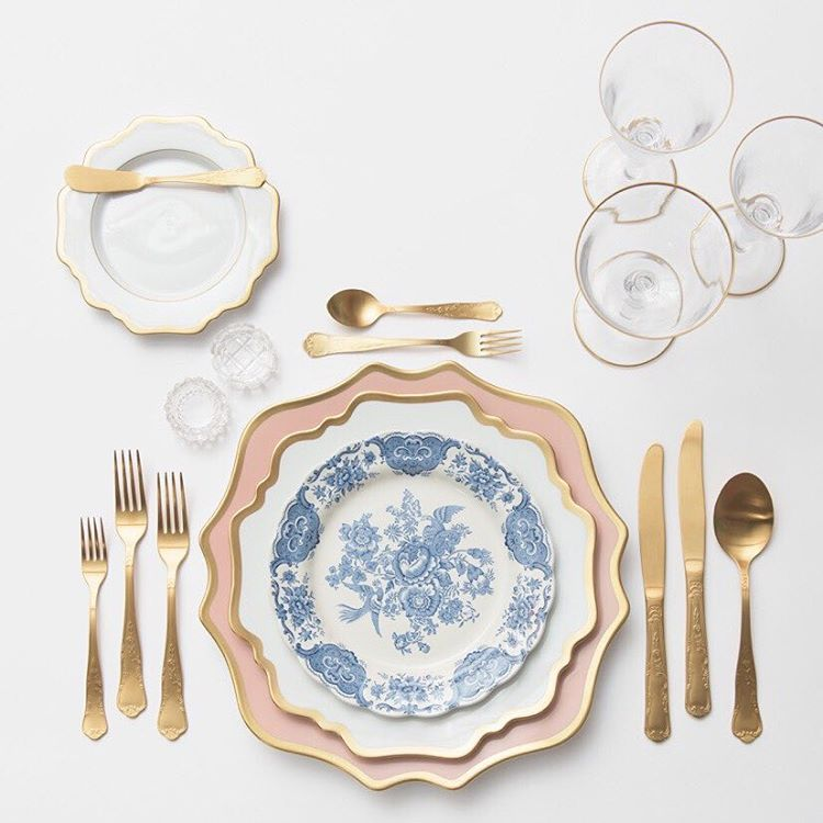 Anna Weatherley Chargers in Desert Rose + AW Dinnerware ...