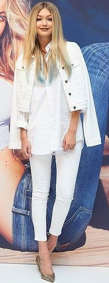 #spring #summer #celebrity #fashion #outfitideas | Gigi Hadid (with blue hair!) in all-white jeans, shirt, and denim jacket