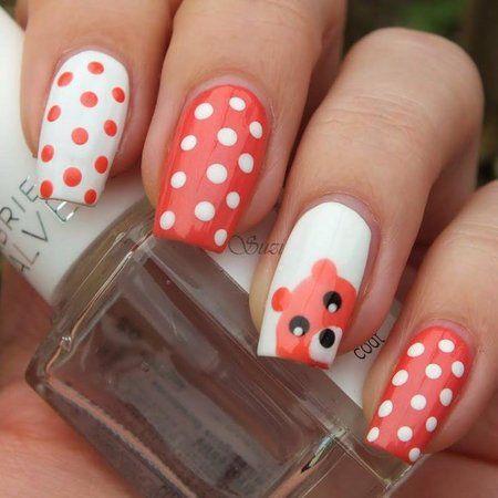 Bear Designed Nail Art Polkadot Nails Nailart Coralnails