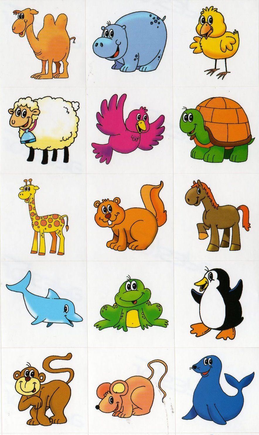 Cartela Com Varios Animais Coloridos Desenho De Animais