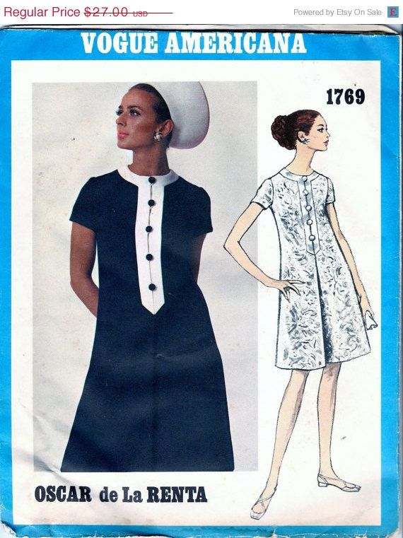 Vogue 1769 Retro 1960s Oscar de la Renta Designer Dress Sewing ...