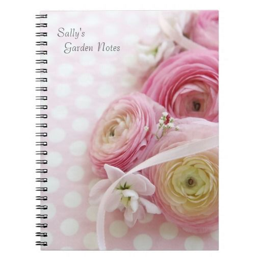 Pink ranunculus on polka dots garden notes spiral notebook