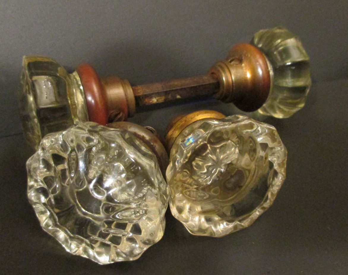Crystal Door Knobs  Clear Glass    VICTORIAN 12 Point  With Spindle