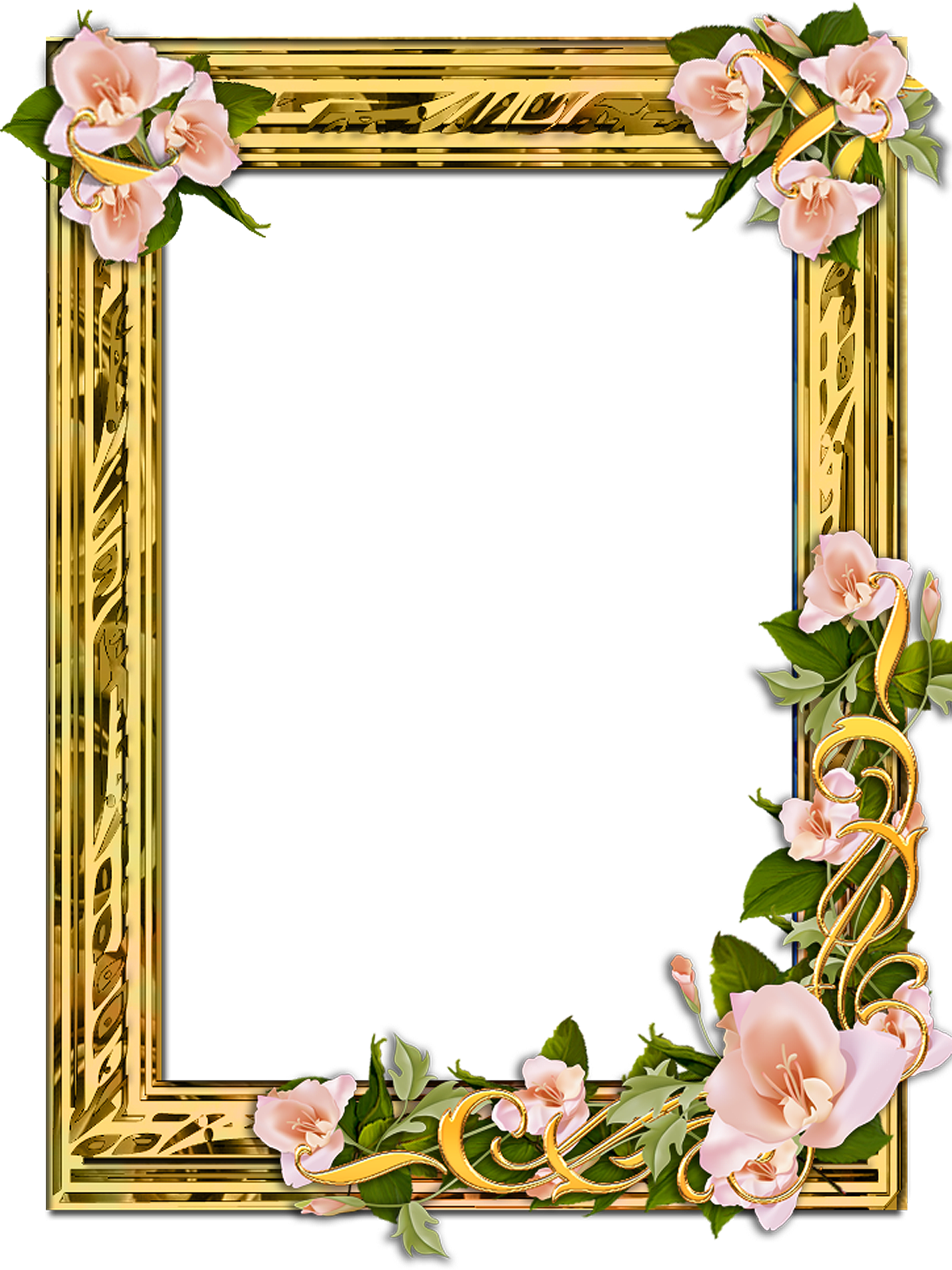 Png Gold Frame With Flowers On A Transparent Background 1200 X 1376 Flower Frame Png Flower Frame Free Photo Frames