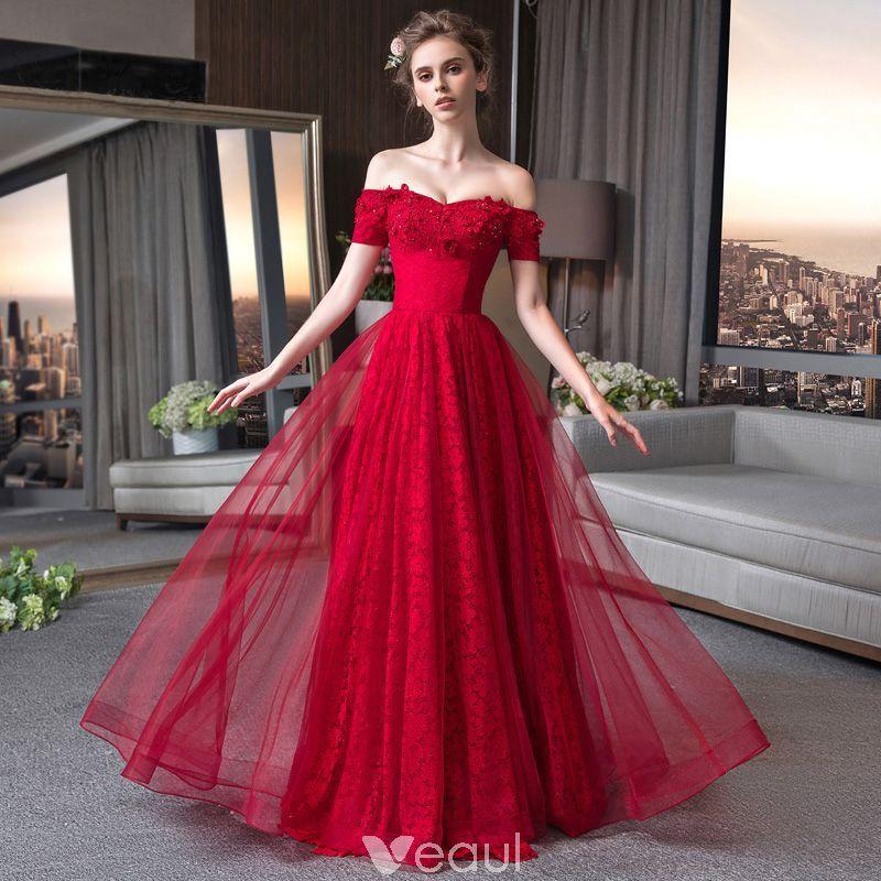 Elegant Burgundy Lace Evening Dresses 2018 A-Line   Princess  Off-The-Shoulder Short Sleeve Beading Appliques Lace Glitter Floor-Length    Long Ruffle ... 3918ce62ba1f