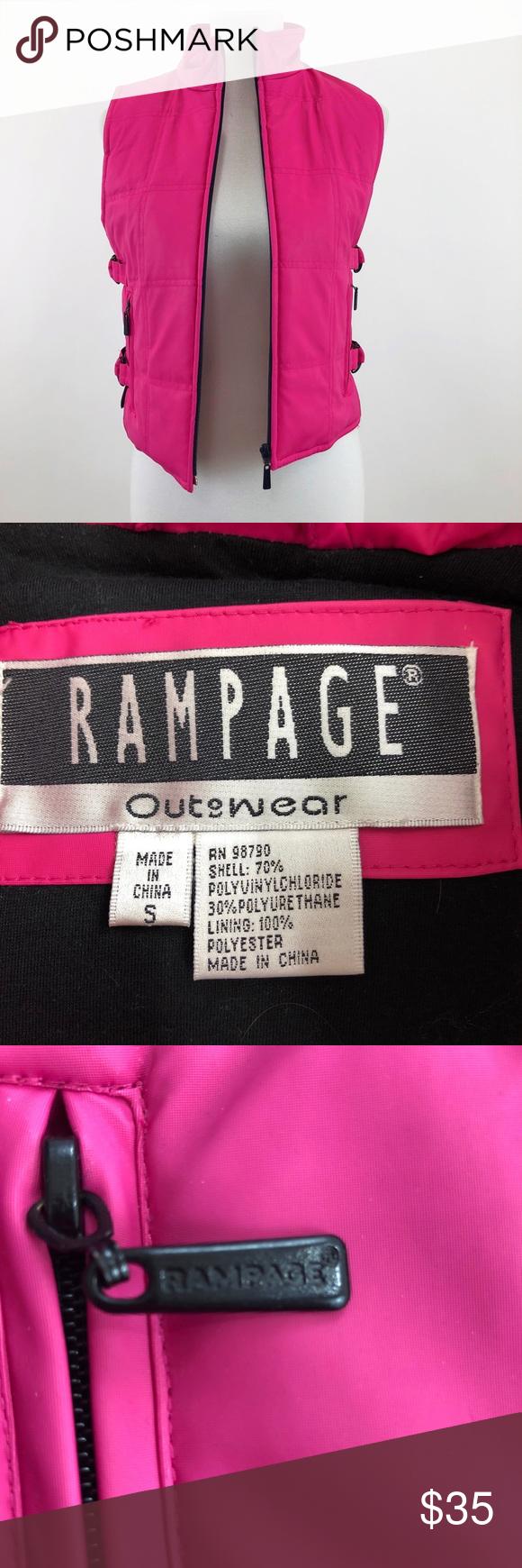 Full Zip Vintage Rampage Vest adjustable Pink Full zip