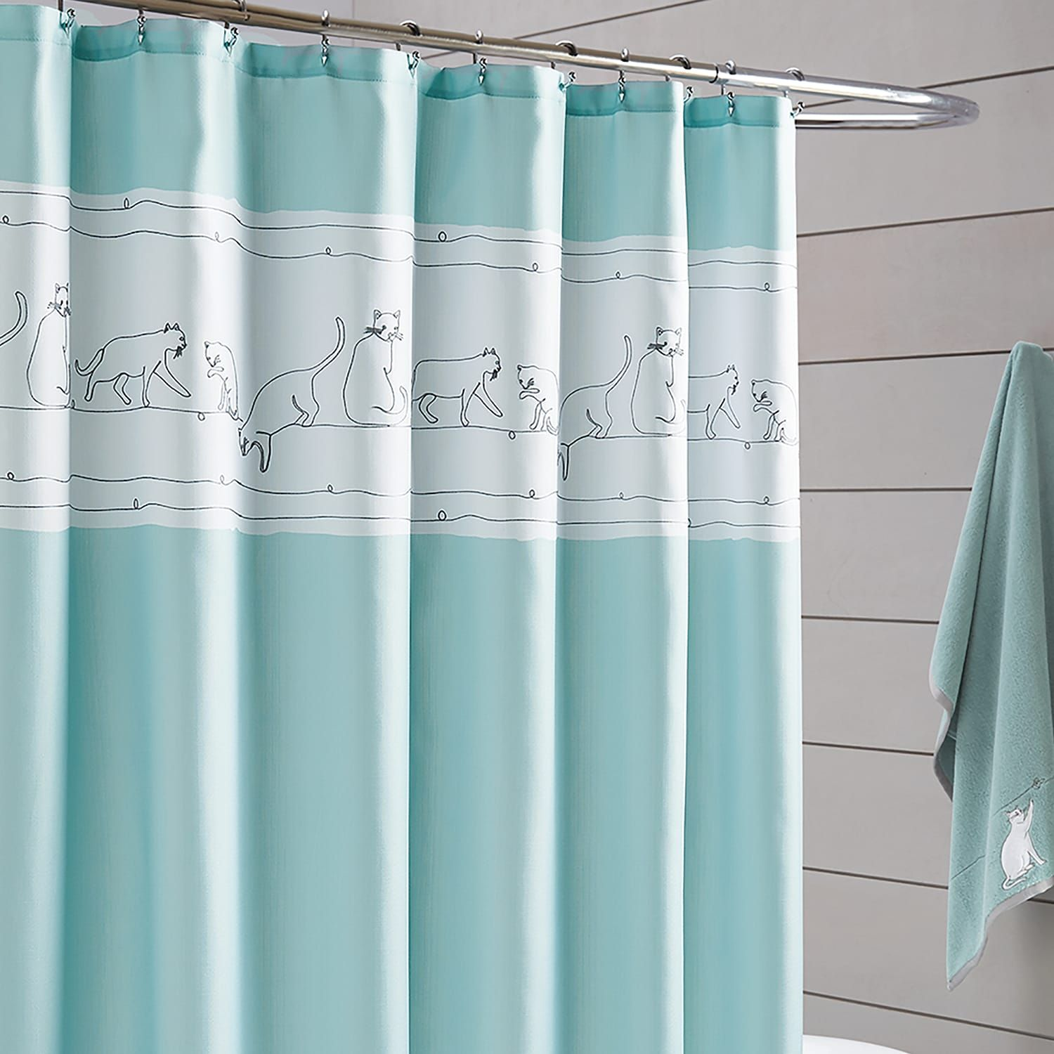 One Home Embroidered Kitty Cat Shower Curtain Kitty Embroidered