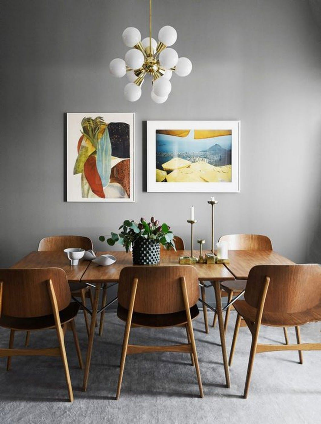 Dining Room Dining Area Mid Century Modern Modern Pendant Light Gallery Wall Grey Wa Mid Century Dining Room Mid Century Modern Dining Modern Dining