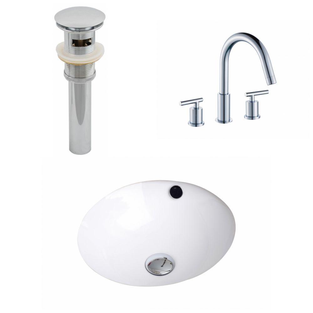 16 1 2 Inch W X 16 1 2 Inch D Round Sink Set With 8 Inch O C Cupc