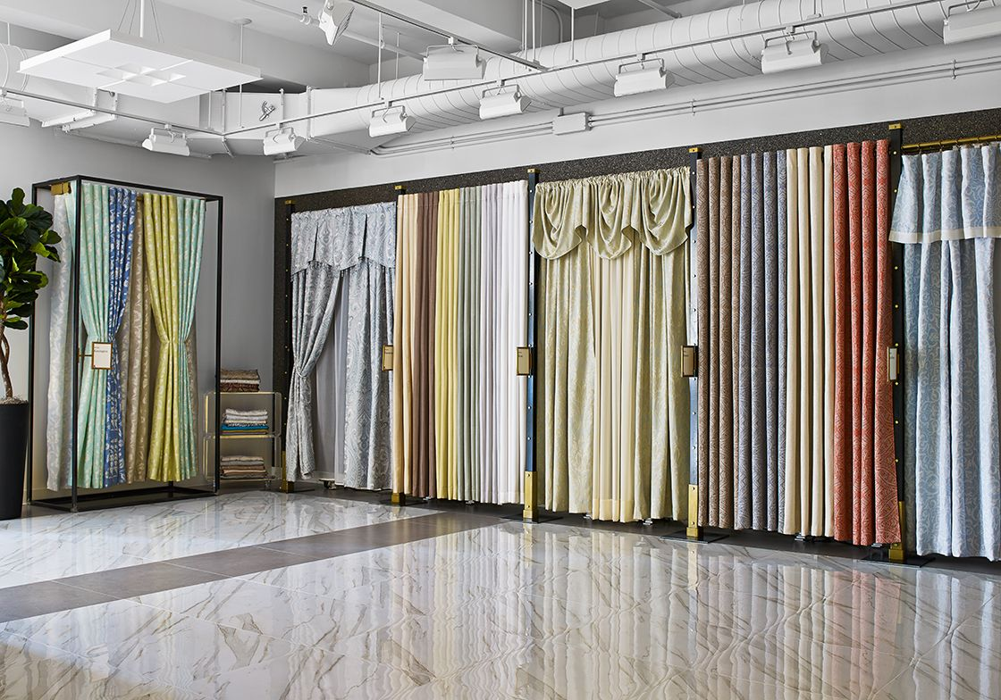 When regal home collections took on a new space at 295 for Curtain display ideas