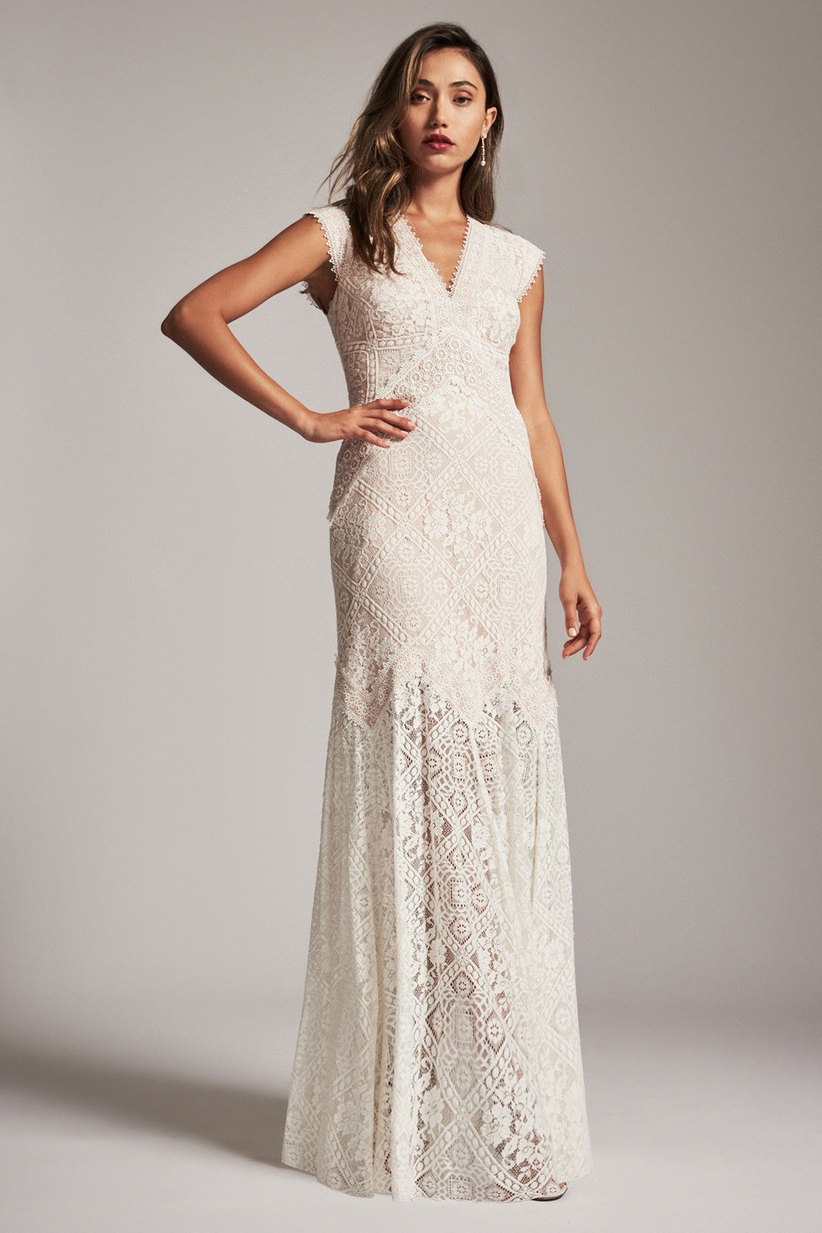 Tadashi shoji bridal arabella gown boho wedding pinterest