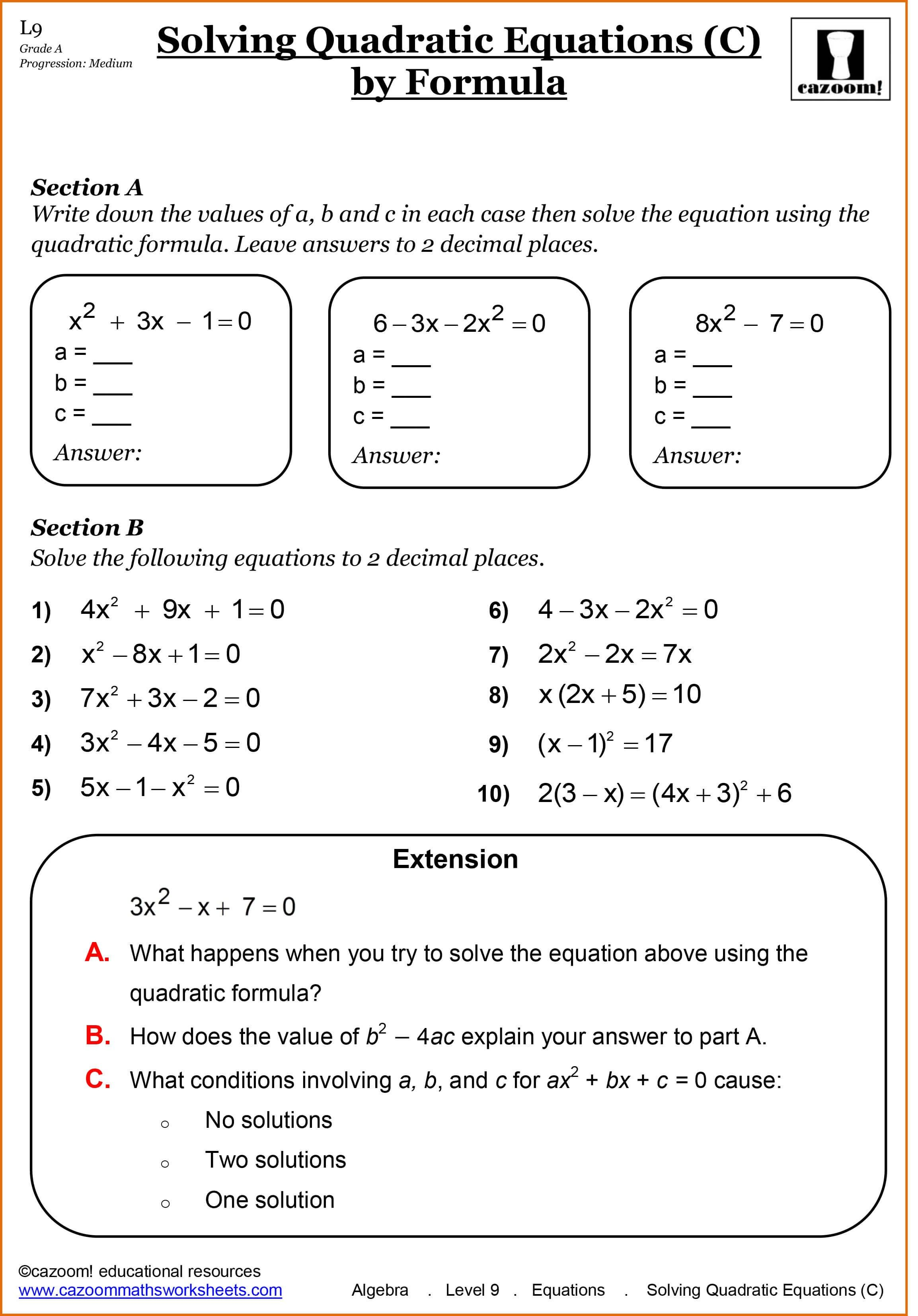 52 Algebra Properties Worksheet Pictures All About Worksheet Solving Quadratic Equations Math Worksheets Algebra Worksheets
