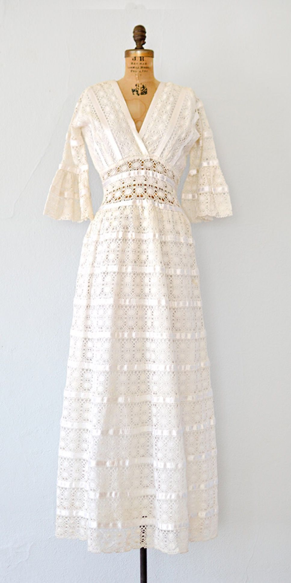 vintage 1960s Mexican wedding dress  lace 60s maxi boho dress bohowedding lacedress