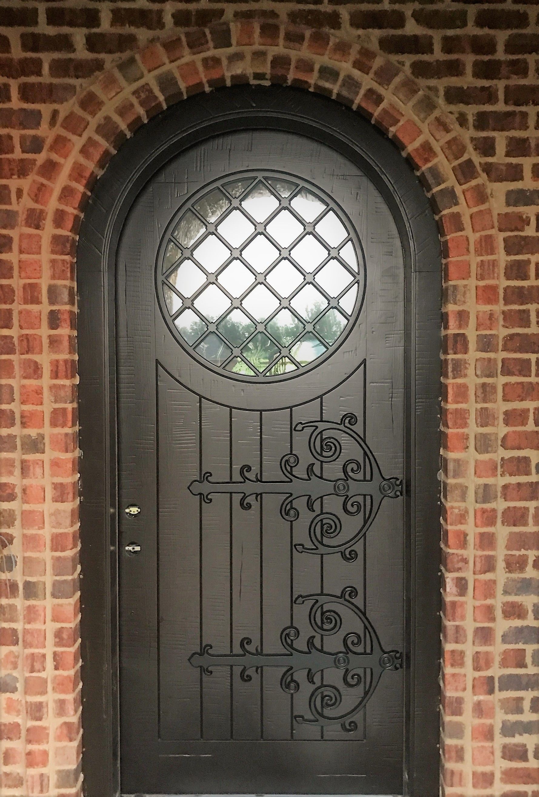 Custom Arched Door - Rustic Walnut Finish - Masterpiece Doors u0026 Shutters (844) 202 & Custom Arched Door - Rustic Walnut Finish - Masterpiece Doors ...