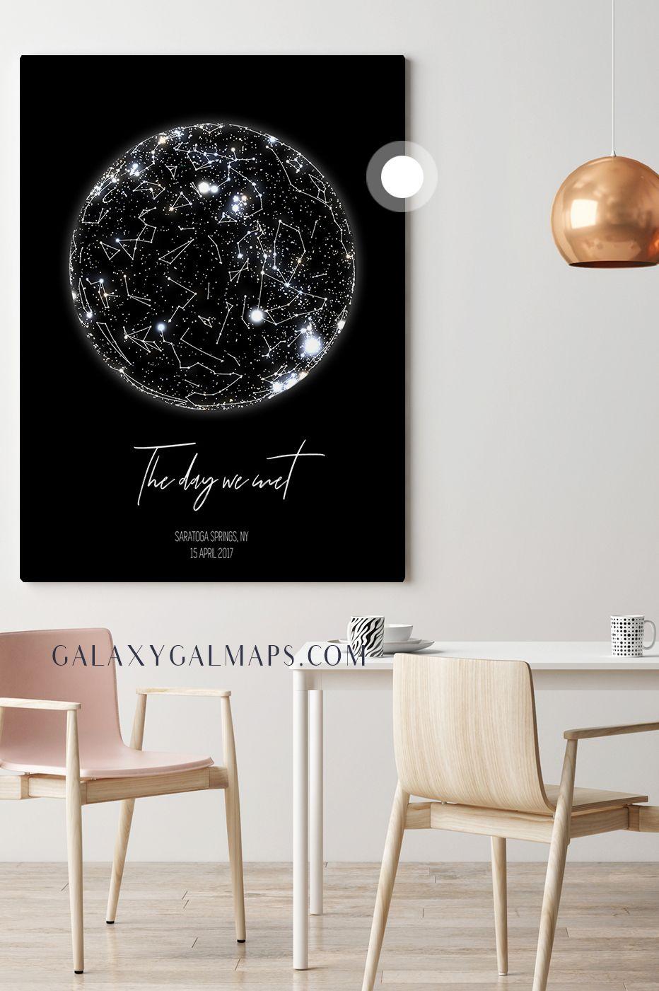 Custom Star Map Zodiac Wall Art Nordic Design Printable Poster - Printable star map