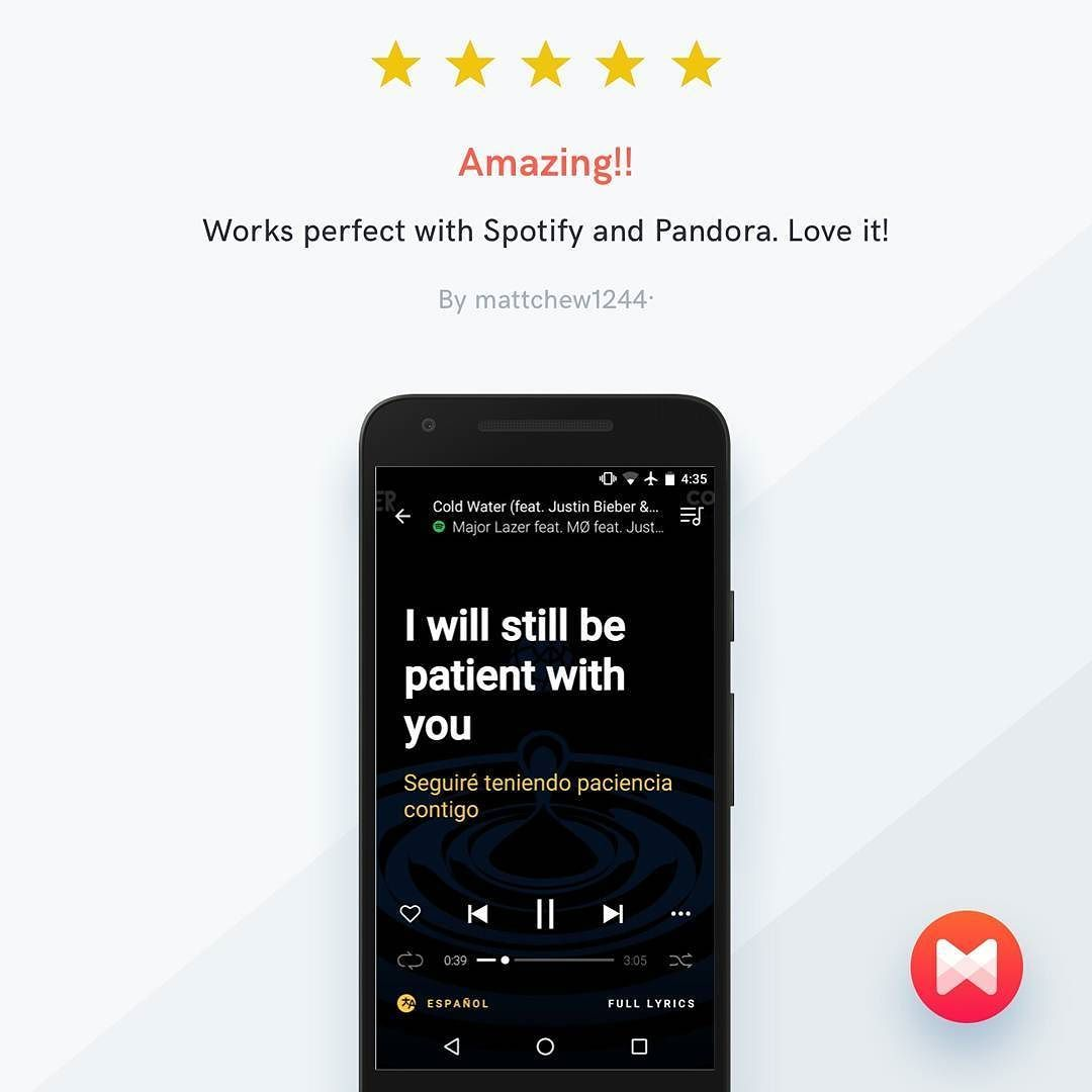 """#BestOfMusixmatchReview  """"Works perfect with Spotify and Pandora. Love it!"""""""