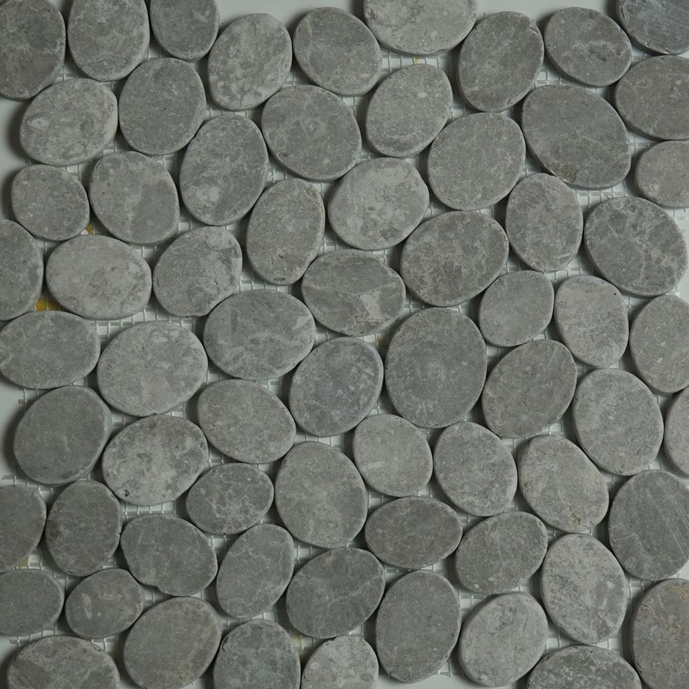 dark grey sliced stone pebble mosaic tile wall floor kitchen