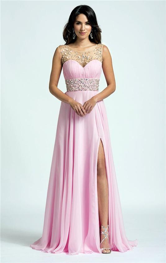 Slit Side Chiffon Prom Dresses Sheer Beaded Scoop Prom Dresses   Buy ...
