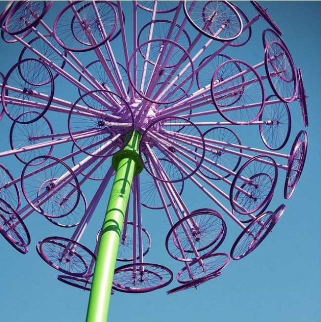 Giant Allium from bicycle wheels