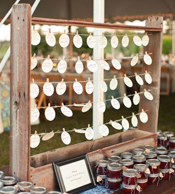 Wedding reception place card holder and jam Going To The Chapel