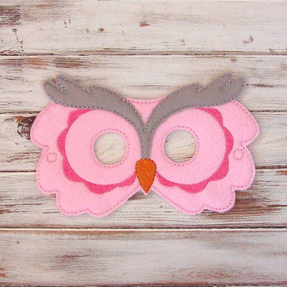 Kids Owl Mask - Pink - Gray - Animal - Costume - Dress Up ...
