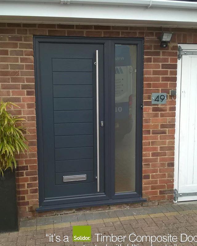 Anthracite Grey Palermo With Side Panel Solidor Timber Composite Door From Timbercompositedoor Contemporary Front Doors Composite Front Door Modern Front Door