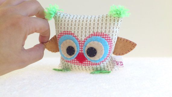 Fabric owl  White with brown pattern  Eco friendly  by anatbubot
