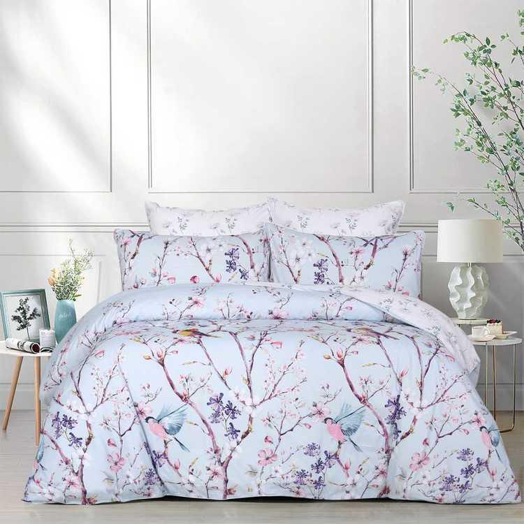 Vintage Birds Floral Reversible Duvet Cover//Quilt Cover Set Bedding Mint//Pink