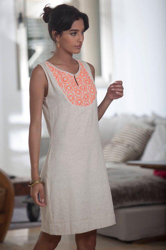 eec0b22679 Sleeveless Linen Short Dress