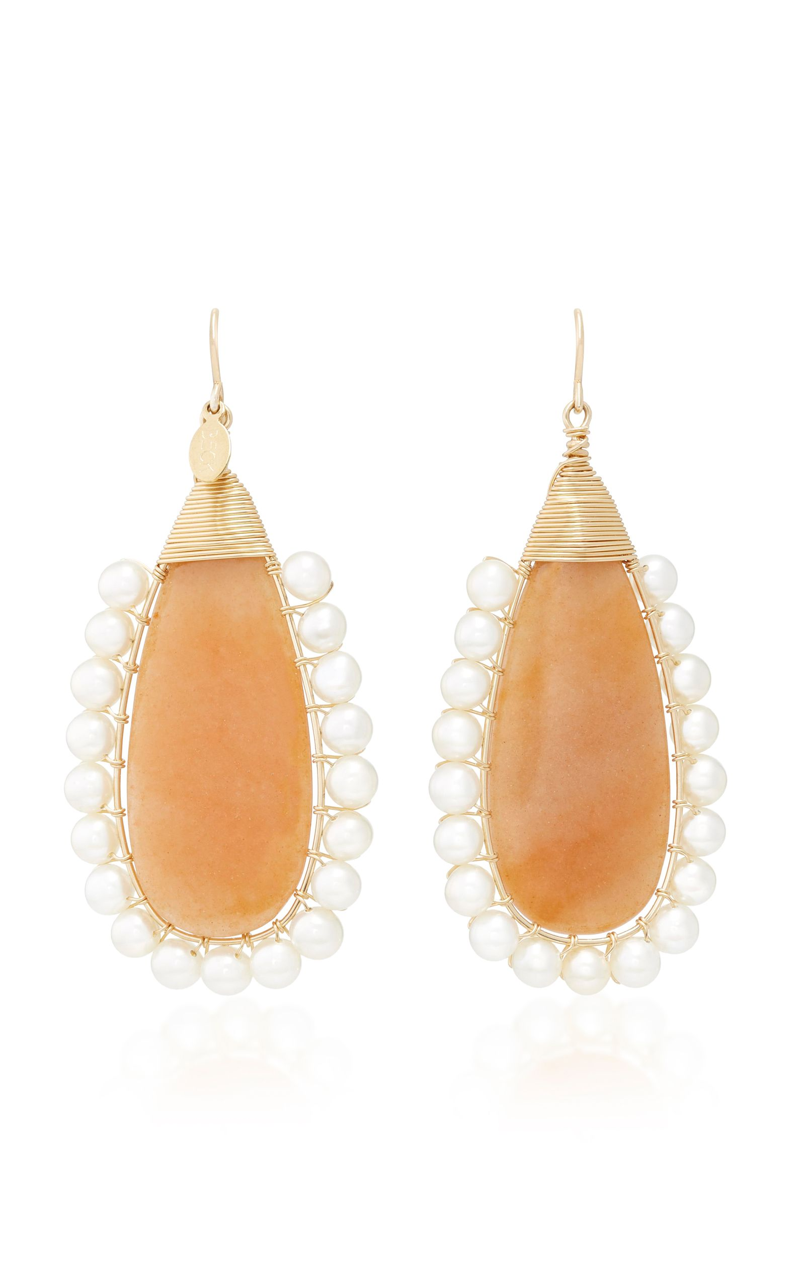 Lolita 14K Gold Adventurine and Pearl Drop Earrings Beck Jewels