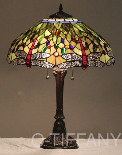 """Tiffany Style Stained Glass Lamp """"Vivid Dragonfly"""" w 18"""" Shade 