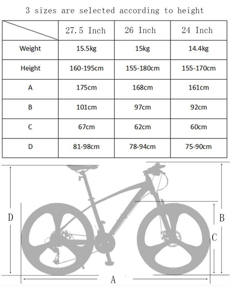 Mountain Bike 27 Speed 26 Inch Bicycle Road Bike Double Disc