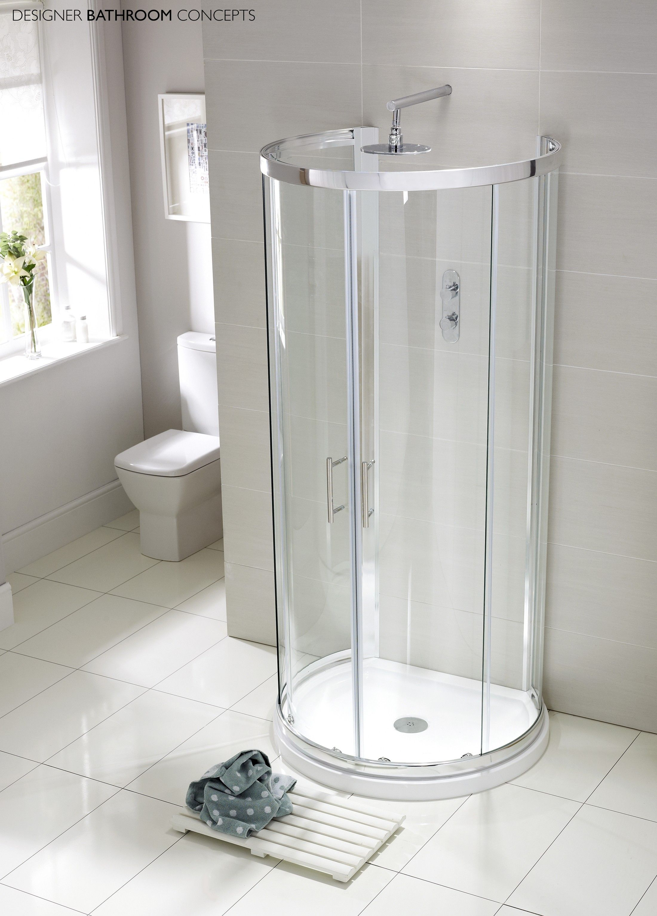 Aquaglass Designer D Shaped Quadrant Shower Enclosure - Main Image ...
