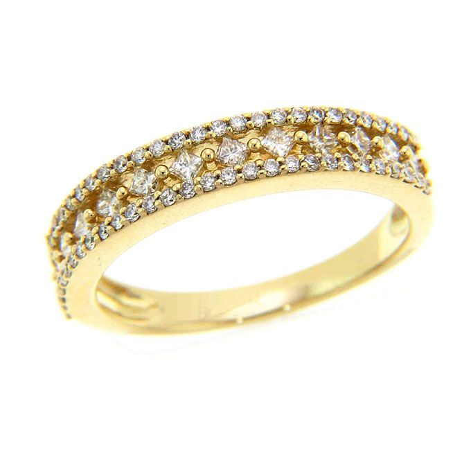 Yellow Gold Wedding Rings for Women Round diamonds Wedding ring
