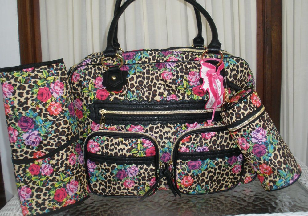 9471c5ab357e BETSEY JOHNSON DIAPER BAG FLOWER POWER CHEETAH 3 PC PAD   BOTTLE WEEKENDER  NWT in Diaper Bags