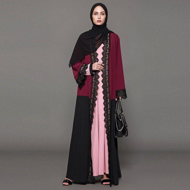 72e17794f9 Abayas For Women 2019 Kaftan Dubai Malaysia Lace Kimono Cardigan Muslim  Hijab Dress Jilbab Robe Elbise Turkish Islamic Clothing