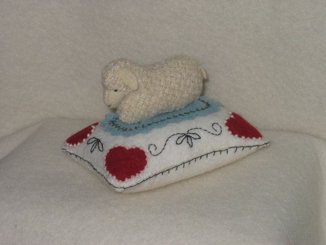 Wool Sheep Pincushion Beaded and Embroidered Heart. $40.00, via Etsy.