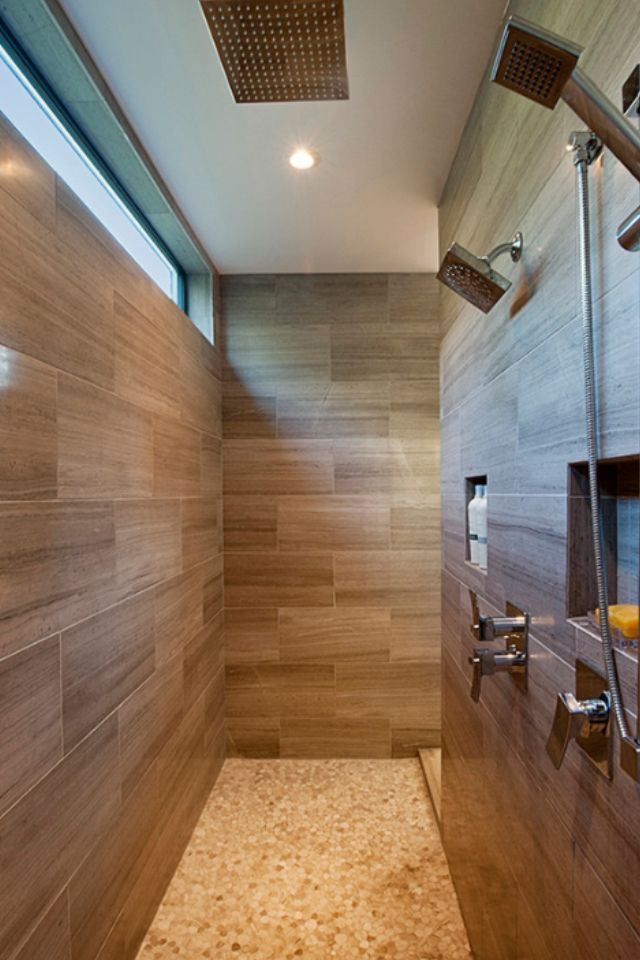 Pros and cons of having a walk in shower natural light for Walk through shower plans