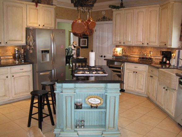 french country kitchen island/different section painted a