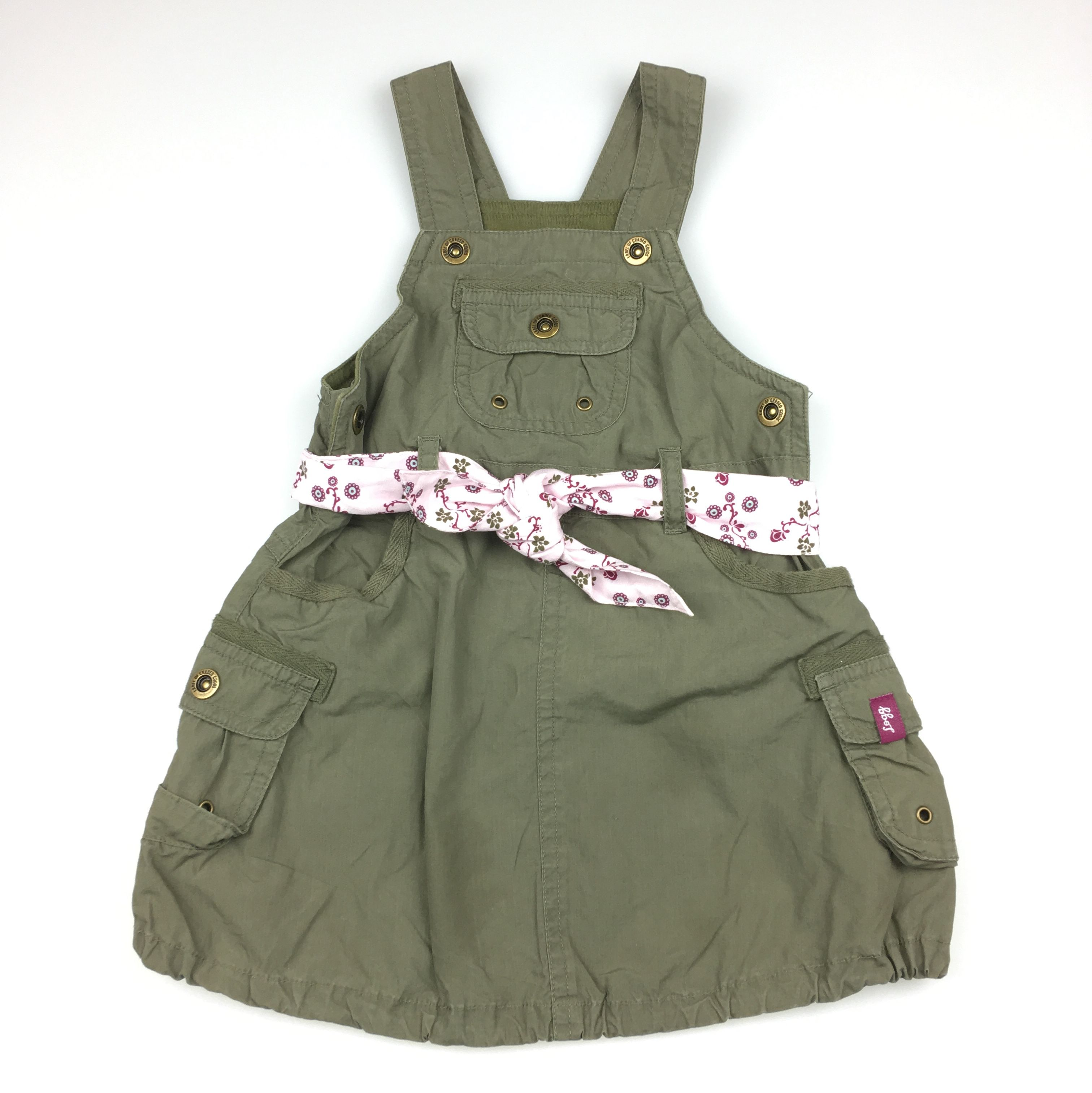 H&m dusty pink dress  HuM baby girlus khaki cotton overall dress with floral print belt